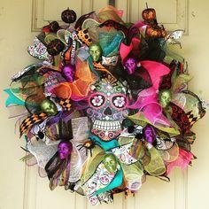 Day of the dead sugar skull Halloween wreath