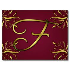 Gold and Ruby Monogram F Postcards