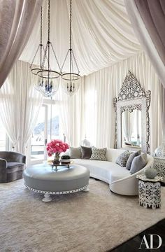 Khloe Kardashian's home designed by Martyn Lawrence Bullard and photo by Roger Davies Photography. Draped luxury in a contemporary Moroccan styled space