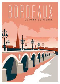 Les Affichistes-The Stone Bridge Bordeaux Poster Art Deco Illustration, Travel Illustration, Poster City, Poster S, Poster Prints, Art Print, Art Deco Artwork, Art Deco Posters, Bordeaux