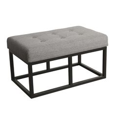 HomePop Industrial Ottoman with Grey Fabric and Black Metal Finish
