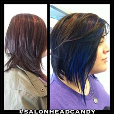 Before & after with blue highlights & purple highlights. New asymmetrical straight razor bob longer in the front with long blue pieces. Awesome hair makeover by Robin!  #salonheadcandy