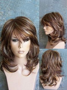 Buy Medium Side Bang Highlighted Layered Slightly Curled Synthetic Wig, sale end… - Frisuren Hairstyles With Bangs, Braided Hairstyles, Hairstyles For Medium Length Hair With Layers, Long Layer Haircuts, Medium Hair Styles With Layers, Medium Layered Hairstyles, Drawing Hairstyles, Hairstyles Videos, Wigs With Bangs