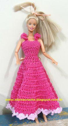 Elaine Croche: Vídeo Aula Crochê - Vestido Boneca Barbie Modelo 2...