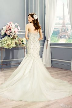 moonlight couture bridal fall 2016 h1284 strapless sweetheart tulle mermaid wedding dress swarovski beading lace appliques back view train
