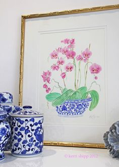 """Pink Orchids in Vintage Blue"""