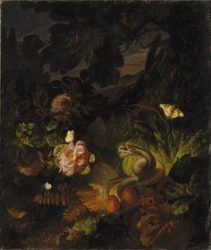 Flowers, Snake and Butterflies by Otto Marseus van Schrieck  Published 17th century