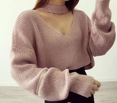 Retro Zipper Sleeve V-neck Knitted Sweater