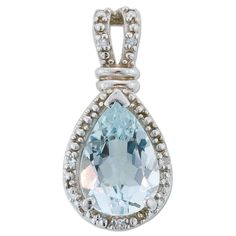 Klein Jewelry Co., Inc.  10K White Gold Pear Shaped Aquamarine and .02ctw Diamond Pendant