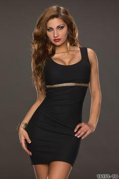Zwart bodycon jurkje met gouden details