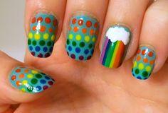 Re-create Your Favorite Challenge - Rainbow nails Bright Nail Art, Polka Dot Nails, Rainbow Brite, Rainbow Nails, Accent Nails, Beauty Hacks, Beauty Tips, Fun Nails, Hair And Nails