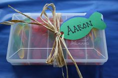 fish party favor...tackle boxes with swedish fish and gummy worms..totally makes me laugh out loud...!!!