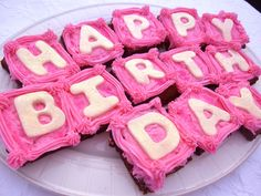 Happy Birthday Brownies with Pink Raspberry Frosting – Diary of a Mad Hausfrau Raspberry Buttercream Frosting, Cupcake Icing, Cupcake Cakes, Cupcakes, Best Dessert Recipes, Delicious Desserts, Birthday Brownies, Birthday Cakes, Birthday Ideas