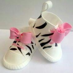 Cute zebra baby shoes cake topper