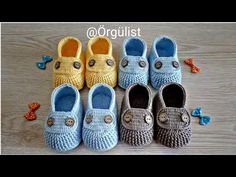 Baby Girl Sandals, Baby Boy Shoes, Baby Boots, Baby Shoes Pattern, Crochet Baby Shoes, Crochet Slippers, Baby Knitting Patterns, Knitting Designs, Crochet Patterns