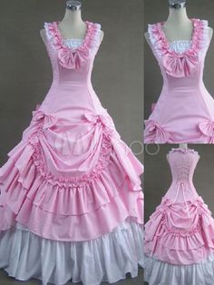 Steampunk - Contrast Color Victorian Long Lolita Dress With Ruffles