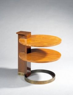 André Sornay; Walnut and Brass Side Table, 1930s.