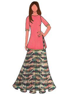 Multicolor Digital Printed Taffeta Silk Skirt Set