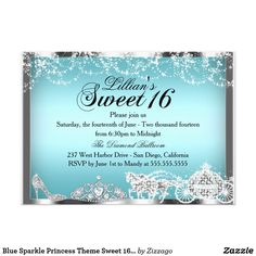 Blue Sparkle Princess Theme Sweet 16 Invite Blue & Silver Sweet 16 Birthday Invitation. Elegant princess theme diamond horse and carriage, tiara & sparkle heel. Please note: All flat images, They do not have real jewels!