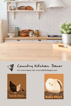 Sandy #orangewalldecor is the #wallhanging for the #whitekitchen in #countrystyle . The theme picks up fittingly on a mother #hen and a hatching #babychick . The #prints are available at #zazzle and published os #canvas or #posterprint . For help with color customization or custom designs, please contact KBM D3signs.