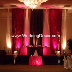 Wedding Backdrop  Flat Backdrop - Fuchsia, brown and ivory panels with tree accents