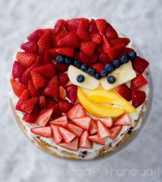 Minusta ei ole muovaamaan yhtään linnunnaamaa sokerimassasta. Siksi otin avuksi hedelmät ja marjat. Tadaa, Angry birds -kakku. Pelastus meille toistaitoisile kakuntekijöille.