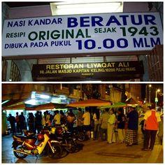 Nasi Kandar Beratur. Restoran Liqayat Ali, 98, Jalan Masjid Kapitan Keling, George Town. Open daily, 10pm onwards