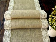 Burlap table runner with vintage cream lace wedding table runner rustic romantic wedding, handmade in the USA Camp Wedding, Wedding Table, Rustic Wedding, Wedding Ideas, Wedding Photos, Rustic Elegance, Rustic Chic, Burlap Table Runners, Dining Table Runners