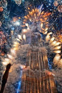 Burj Khalifa, Dubai, UAE. with fireworks