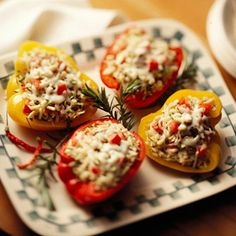 Barley-Stuffed Peppers These meatless stuffed peppers are brimming with a cheesy barley stuffing. Use a combination of different colored peppers for an eye-catching presentation.
