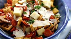 Pizza-ria Chex Mix: ngredients  1 bag (8.75 oz) Chex Mix® Traditional snack mix 1 cup mini pepperoni 1 cup cubed mozzarella cheese 1/2 cup shaved parmesan cheese 2 tablespoons chopped fresh basil or parsley
