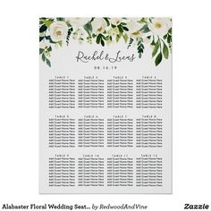 Shop Alabaster Floral Wedding Seating Chart created by RedwoodAndVine. Personalize it with photos & text or purchase as is! Seating Chart Template, Seating Charts, Art Deco Monogram, Wedding Table Seating, Wedding Posters, Green Theme, Wedding Signage, Casual Wedding, Monogram Wedding