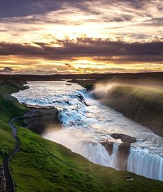 One of the most popular tourist attractions in Iceland, Gullfoss or the Golden Falls is a double waterfall in the canyon of Hvítá river | TOP 10 Things to See and Do in Iceland
