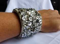 Items similar to Handsewn Sequin Cuff Statement Bracelet-Black and Silver Over Lace on Etsy Hand Sewing, Sequins, Trending Outfits, Diamond, Unique Jewelry, Bracelets, Handmade Gifts, Pretty, Vintage