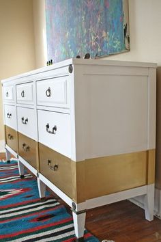 DIY painted dresser LOVE the gold stripe.