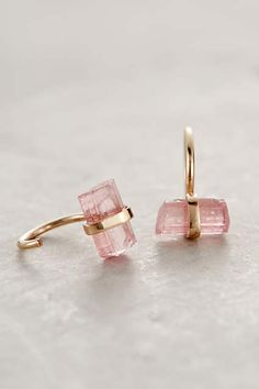 Cosmos Hoops from Anthropologie. Blush pink tourmaline curved stud earrings.