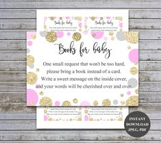 Bring a Book Instead of a Card Insert Book Request Card Baby Library Printable Girl Baby Shower Invitation ( v50 t ) Instant Download by diymyparty on Etsy