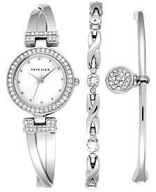 Anne Klein Women's Crystal Accent Stainless Steel Bangle Bracelet Watch & Bracelets Set 24mm AK/1869SVST
