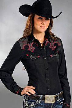 "Panhandle Slim Women's Pink & Black Rodeo Shirt on sale! Exclusive discount code ""QUICKSHIP"" saves more than sale price. Country Wear, Country Girls Outfits, Country Fashion, Country Shirts, Rodeo Shirts, Cowgirl Shirts, Western Shirts, Western Apparel, Cowgirl Outfits"