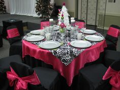 Black, hot pink, and damask table for a Christmas party.  This is such a fun color/pattern combination!
