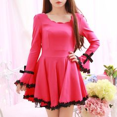 "Sweet bowknot lace horn sleeve dress  Coupon code ""cutekawaii"" for 10% off"