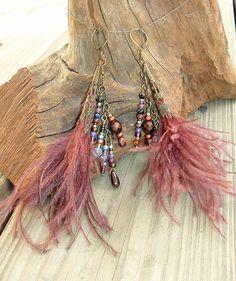 BOHO Earrings, Feather Earrings, Bohemian Jewelry, Boho Fashion