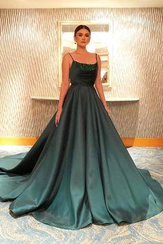 A-line Spaghetti Straps Dark Green Long Prom Dresses Evening Dress CR 6530 Lilac Prom Dresses, Mint Bridesmaid Dresses, Prom Dresses 2017, Tulle Prom Dress, Ball Gown Dresses, Prom Party Dresses, Evening Dresses, Formal Dresses, Big Dresses