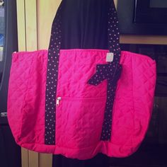 Pink Quilted Tote Bag.