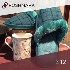 ☕️COZY Slippers☕️ ($ Firm) Wake up to cozy and comfortable slippers in cute teal plaid design with memory foam under your feet! New Retail in Packaging Still. Avon Shoes Slippers