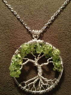 Peridot Tree of Life Hand Wire Wrapped Pendant by Just4FunDesign, $25.00