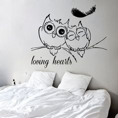 Lovely Owls Wall Decals Loving Hearts Birds on by DecalMyHappyShop Owl Wall Decals, Wall Art, Vinyl Art, Vinyl Decals, Kids Stickers, Room Paint, Nursery Room, Silhouette, Bedroom Decor