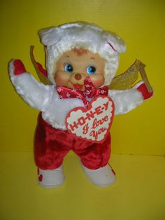 "Vintage Rushton Rubber Race Doll 18"" Valentine I Love You Honey H-O-N-E-Y Bear #RUSHTON"