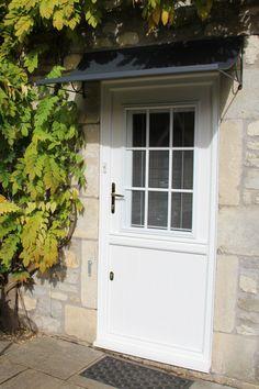 Front door canopies made from zinc galvanized steel. Any porch canopy made to fit over your door by Garden Requisites. Metal Door Canopy, Metal Door Awning, Back Door Canopy, Front Door Awning, Porch Canopy, Paint Steel Door, Porch Shelter, Veranda Design, Garage Door Styles