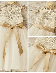 Lace gold/ivory flower girl dress